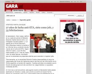 Titular del Gara ante el asesinato de Pueyes